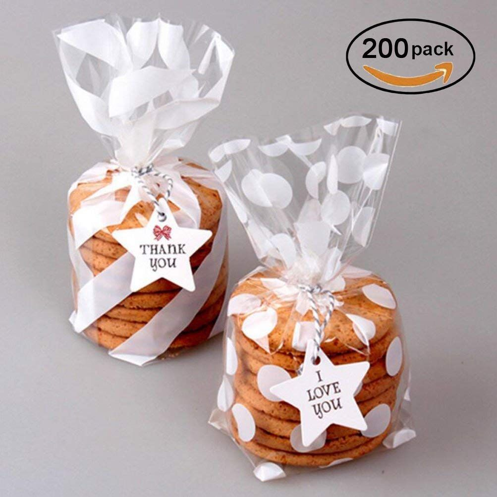 White Cello Bags 5x8 Inch For Treat Candy Cookie Party Favor Bags