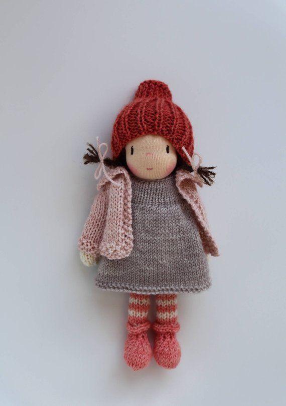 """Waldorf doll, Waldorf knitted doll 8"""" - Bella Luna ..."""