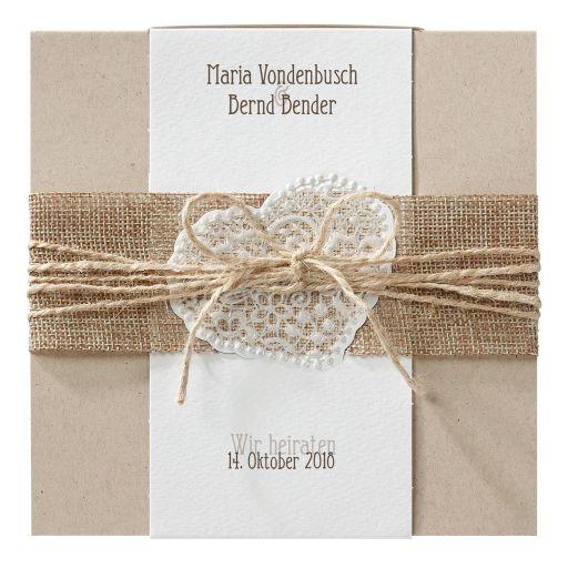 Einladungskarte Für Die Hochzeit Aus Kraftpapier Mit Jute Banderole. Diese  Hochzeitseinladung Ist Perfekt Für