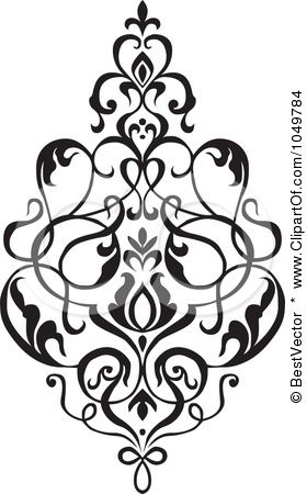 antique floral damask black and white google search ephemera rh pinterest com damask pattern clip art damask clip art border