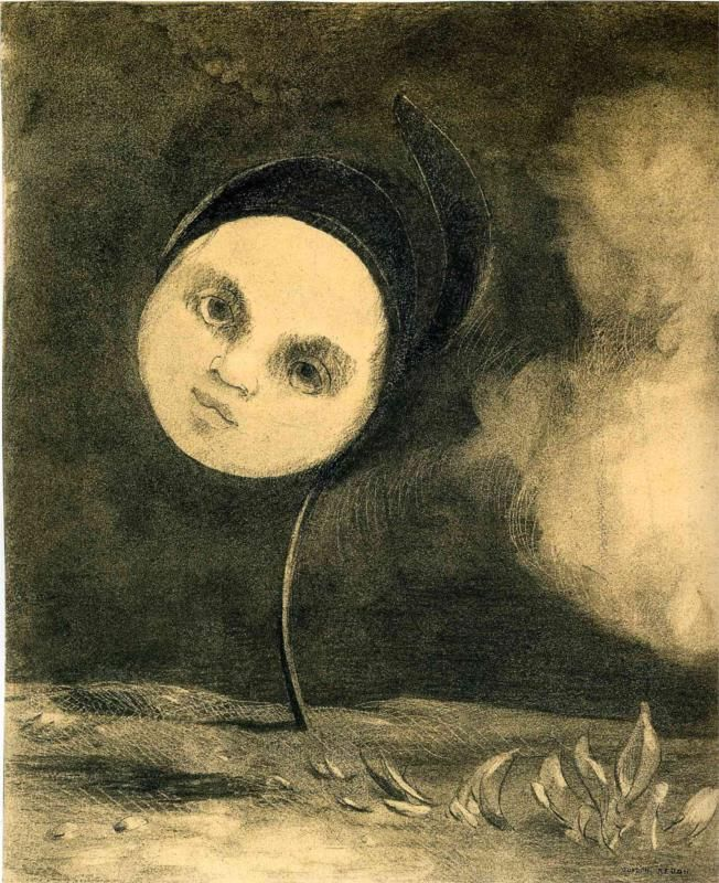 Head on a Stem,  charcoal on paper. The Art Institute of Chicago, Chicago, USA.  Symbolism, Odilon Redon (1840-1916).