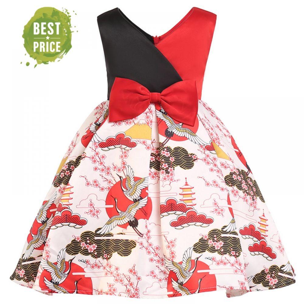 Baby Girls Cherry Print Dress Little Princess Dresses Sleeveless Skirt Outfits 2-7 Years Little Kids Clothing