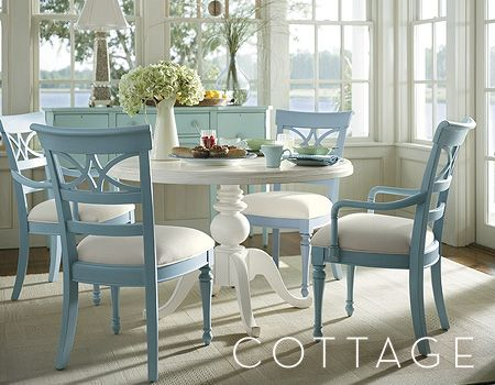 Blue Is A Must In A Beach House Coastal Living Collection This Picture Has Been In My Journal And I Have Used Cottage Dining Rooms Home Pedestal Dining Table