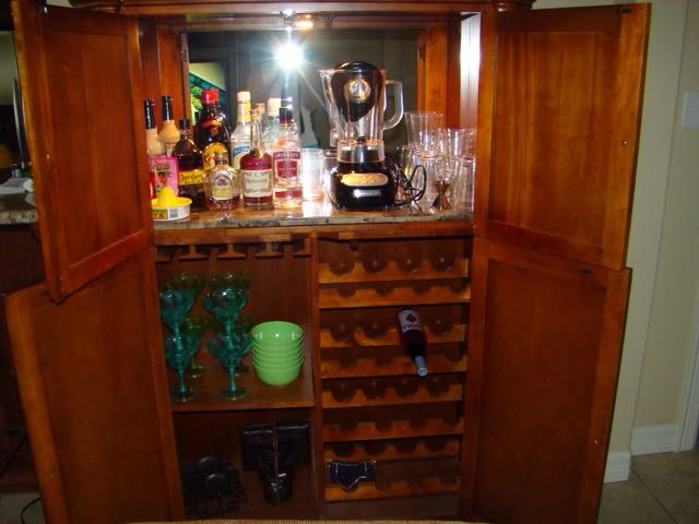 armoire converted to a liquor cabinet