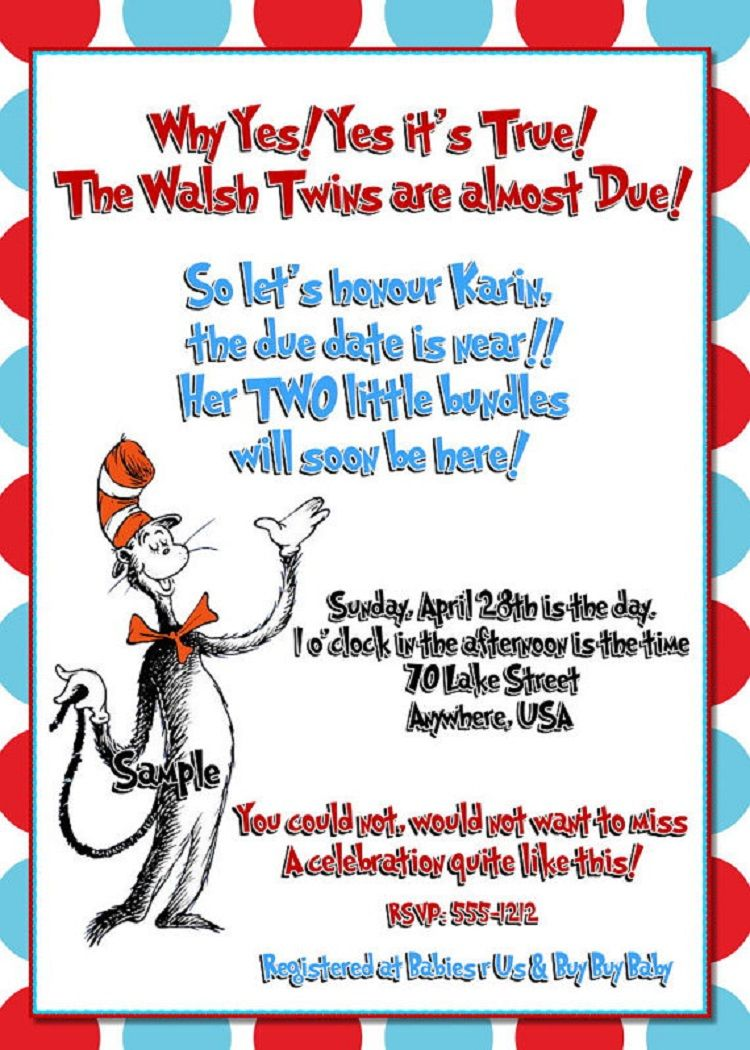 Dr. Seuss Baby Shower Birthday Party Invitations