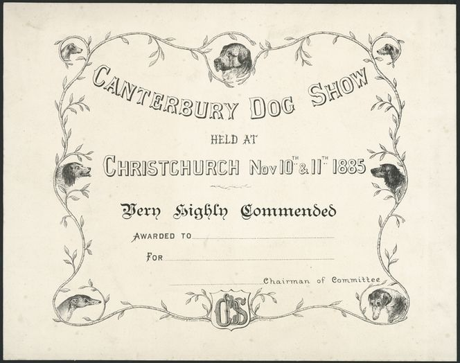Canterbury Dog Show held at Christchurch, Nov 10th \ 11th 1885 A - blank certificate