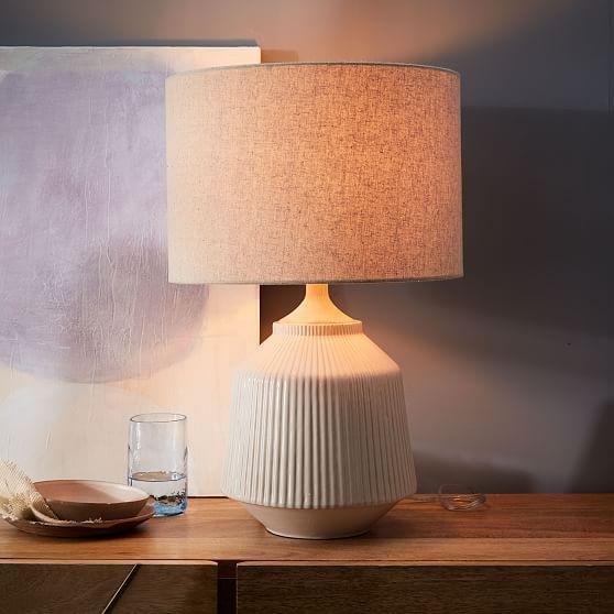 Roar Rabbit Ripple Ceramic Table Lamp Large White