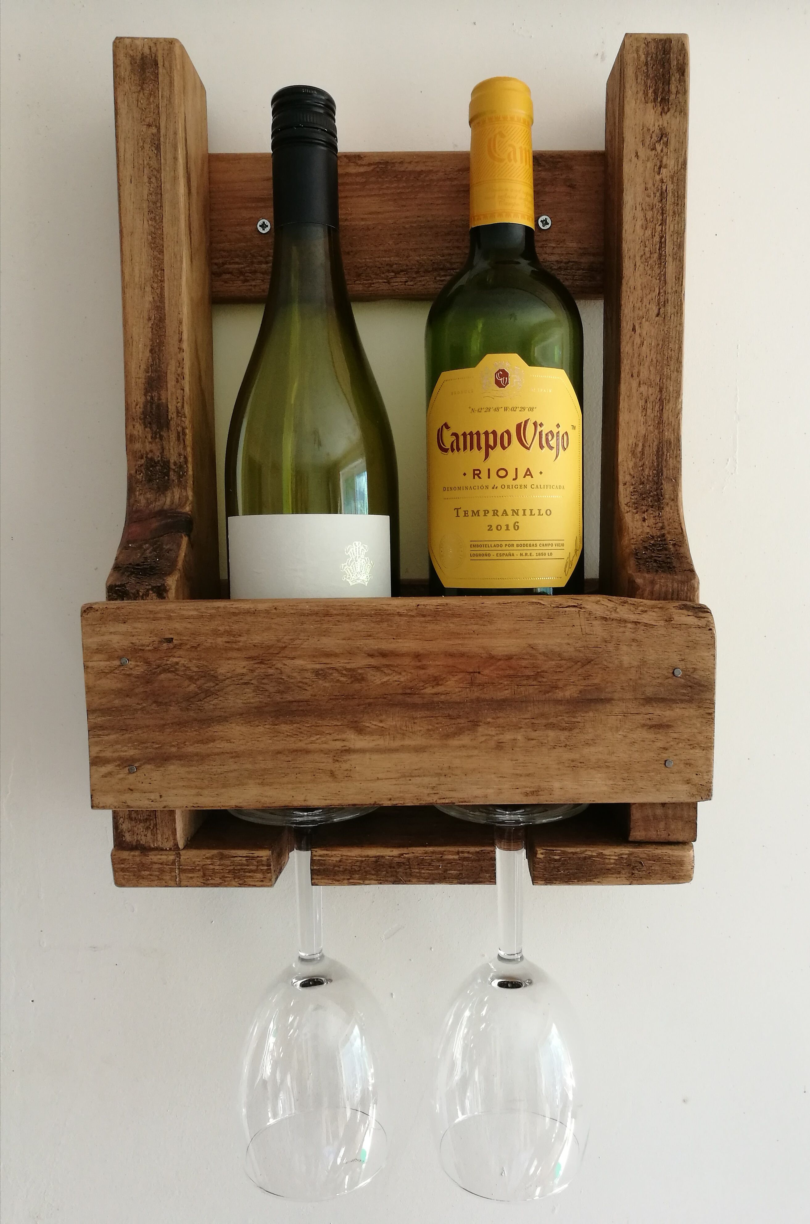 Rustic 2 Glassbottle Wine Rack Made From Reclaimed Timber A
