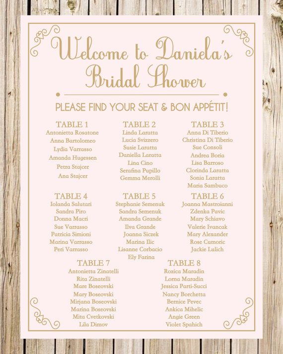 Bridal Shower Seating Chart Guest List Sign Wedding