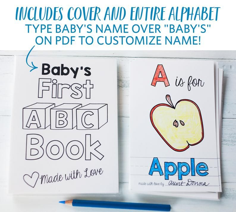 Book Baby Shower Activity Personalized Abc Book Coloring Etsy Baby Shower Book Abc Book Baby Shower Activities