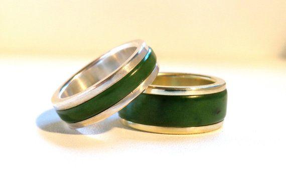 Jade Greenstone Pounamu And Gold Wedding Ring