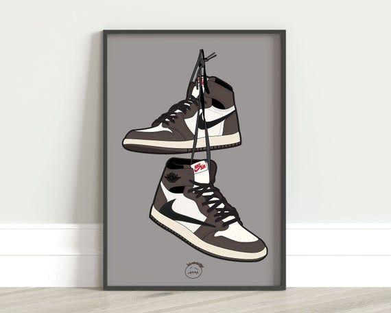 Air Jordan 1 Travis Scott Poster Original Art Drawing Digital Etsy Music Art Print Poster Wall Art Sneaker Posters