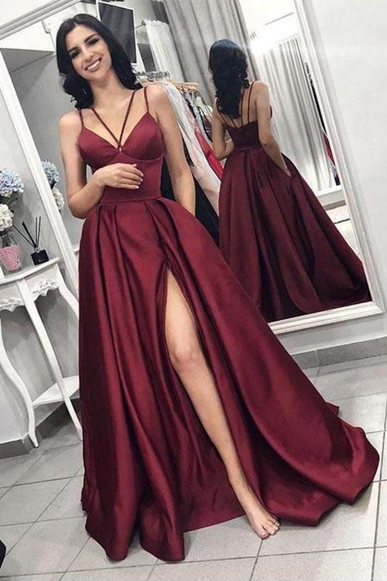 2019 Slit A-Line Vestidos de baile Sexy Correas Spaghetti Sweep Train US$ 165.00 VEPMBDQ6EC