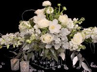 Brilliant white flower centerpiece with a touch of icy snow.  Perfect for a winter soiree or a New Years party.  Flowers from Florabundance.com