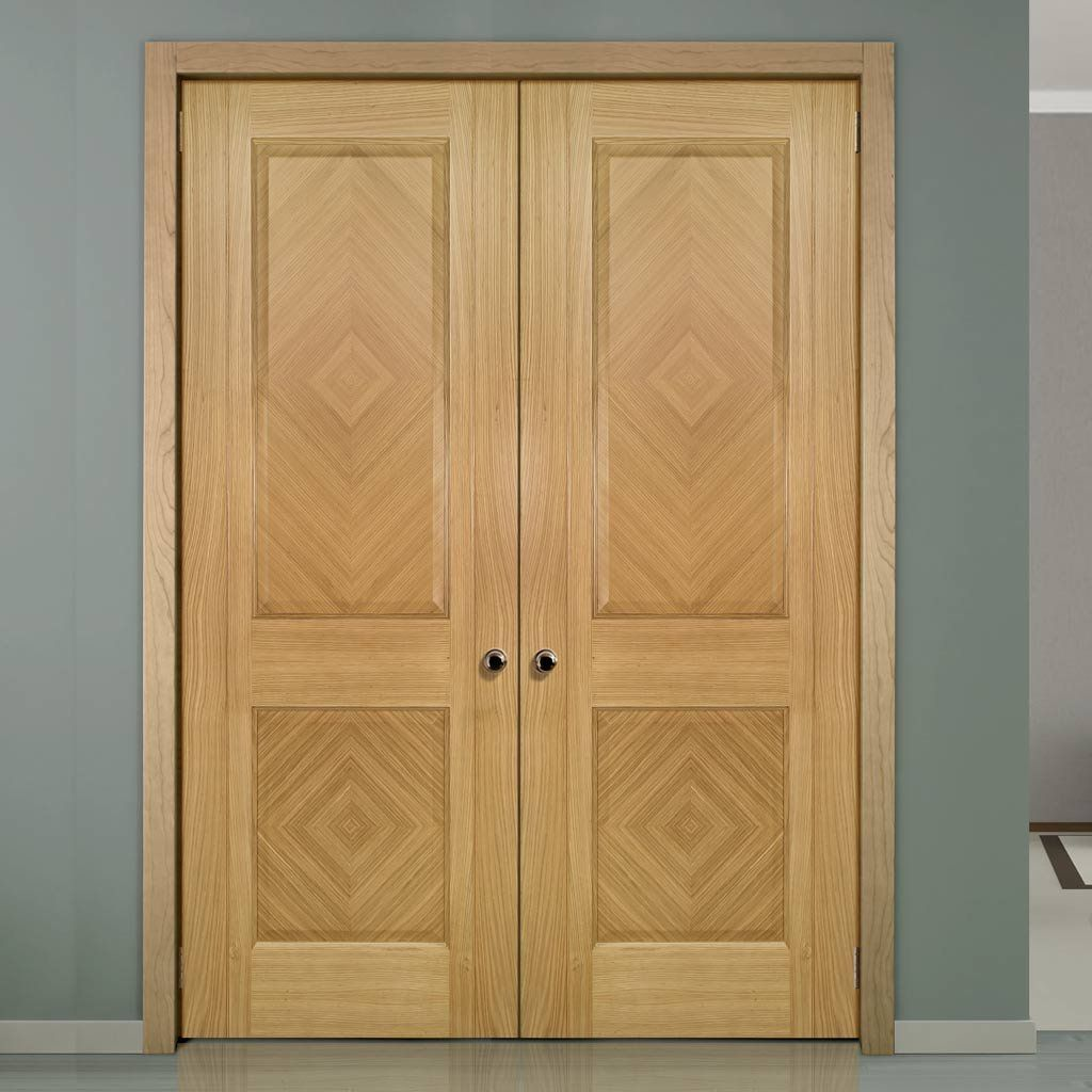 Kensington Oak Panel Door Pair, Prefinished. #doubledoors #internaloakdoors #paneldoors