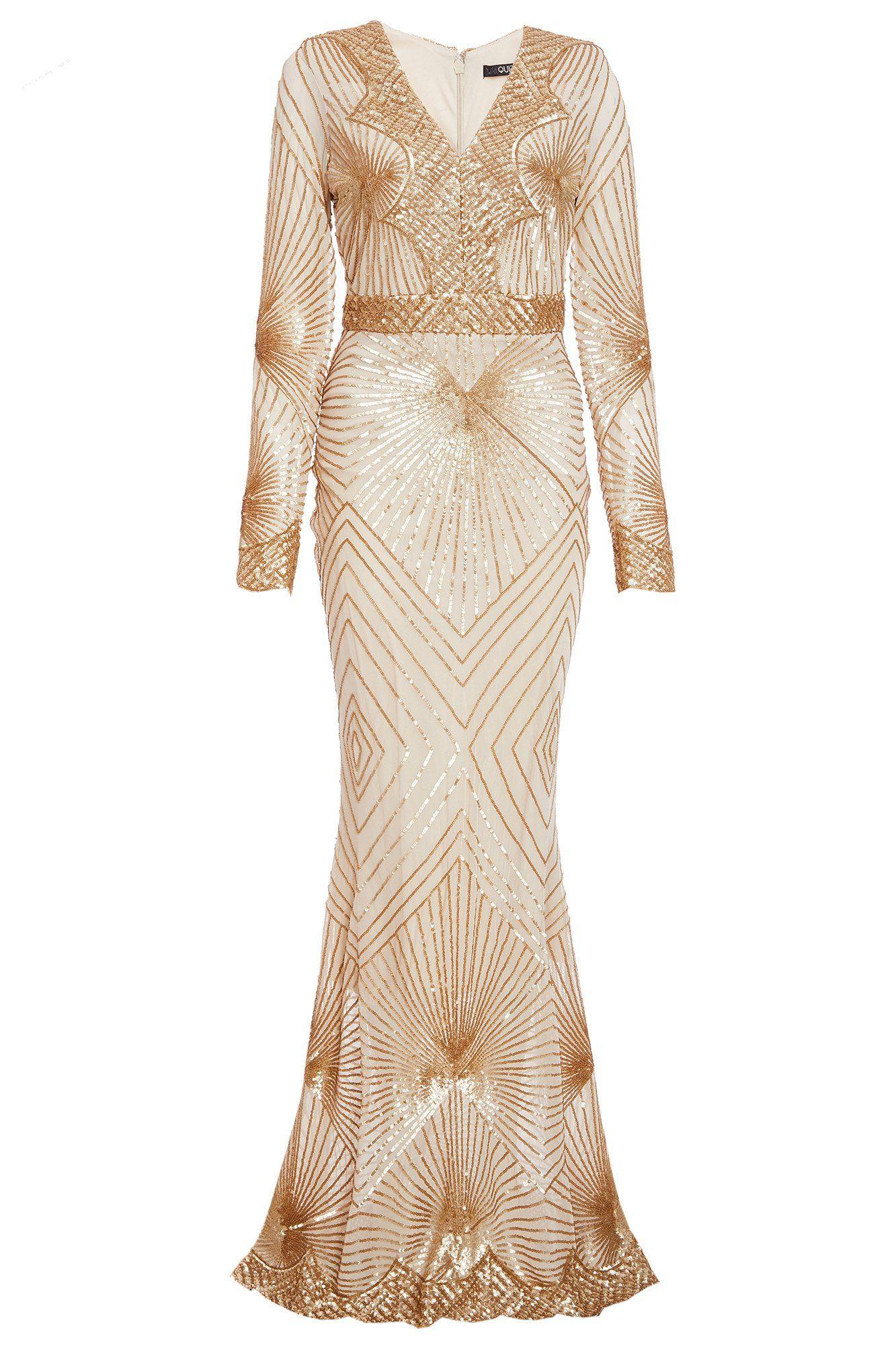 Gold Sequin Long Sleeve Fishtail Maxi Dress Quiz Clothing Gold Maxi Dress Long Sleeve Dress Formal Gold Long Sleeve Dress [ 2000 x 1333 Pixel ]