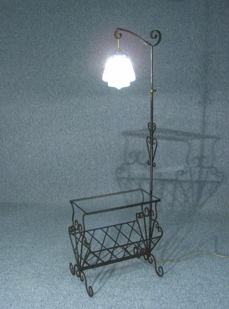 This Is A Lovely Vintage Wrought Iron Standard Lamp Stand Table Glass Inset  Table Top Above A Scrollwork Magazine Rack Adjustable Height Lamp Pole  Beautiful ...