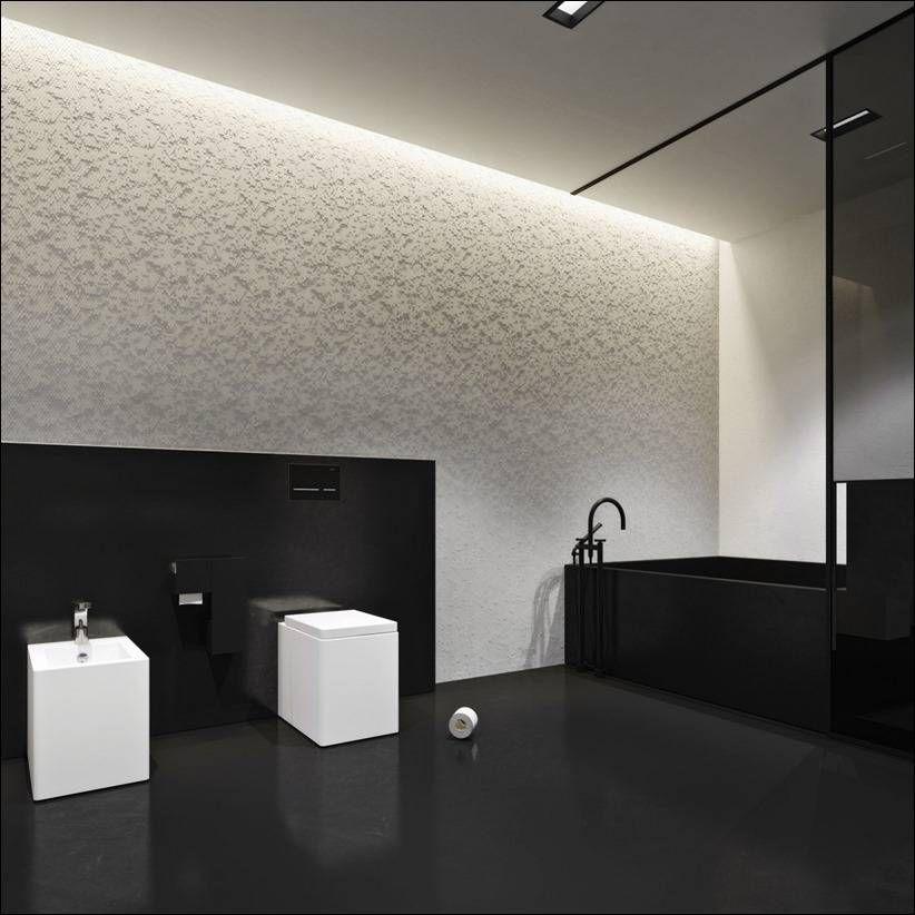 Необычный дом с монохромным интерьером Архитектура, Интерьер - badewanne eingemauert modern