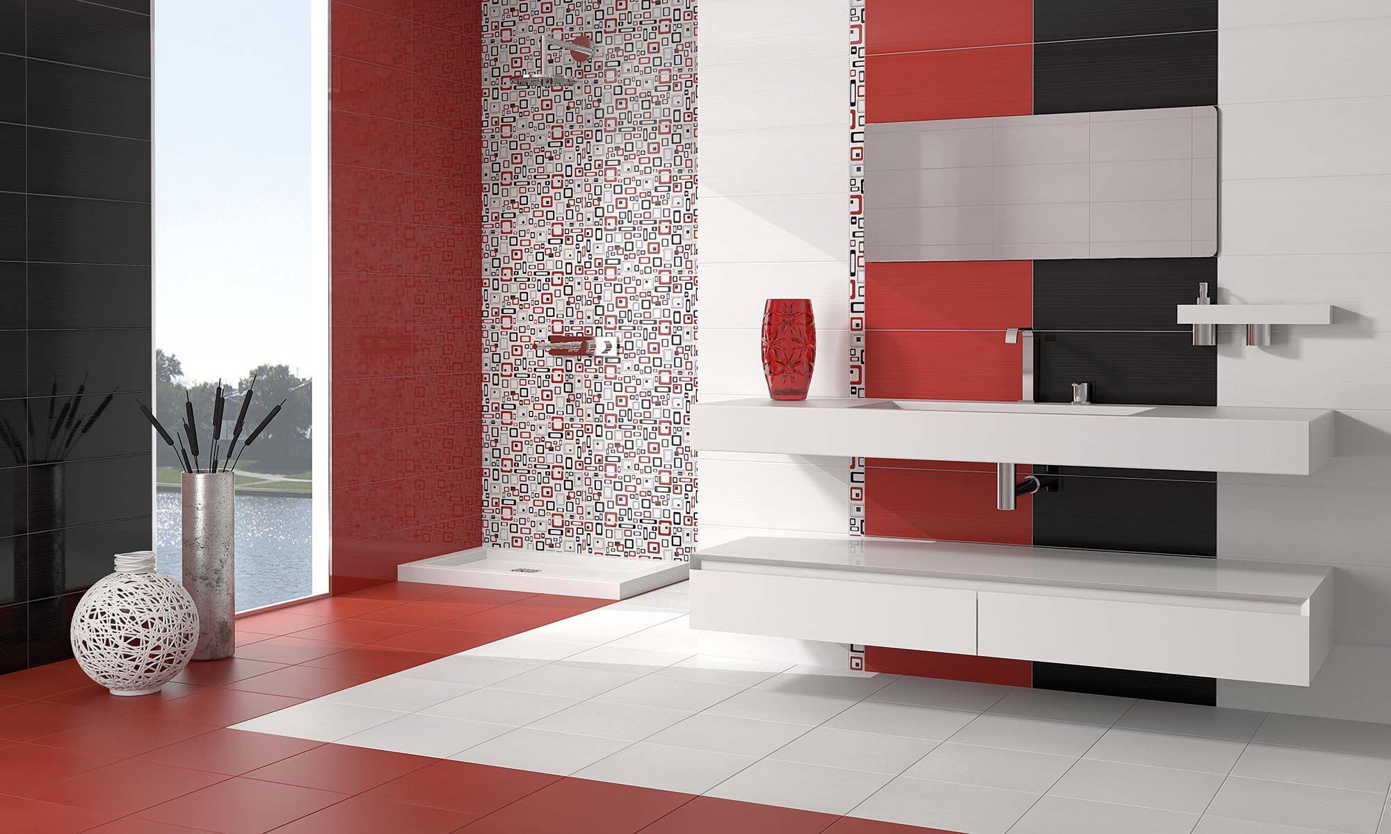 Combinaci n de azulejos en blanco rojo y negro para ba o - Baldosas gresite para banos ...