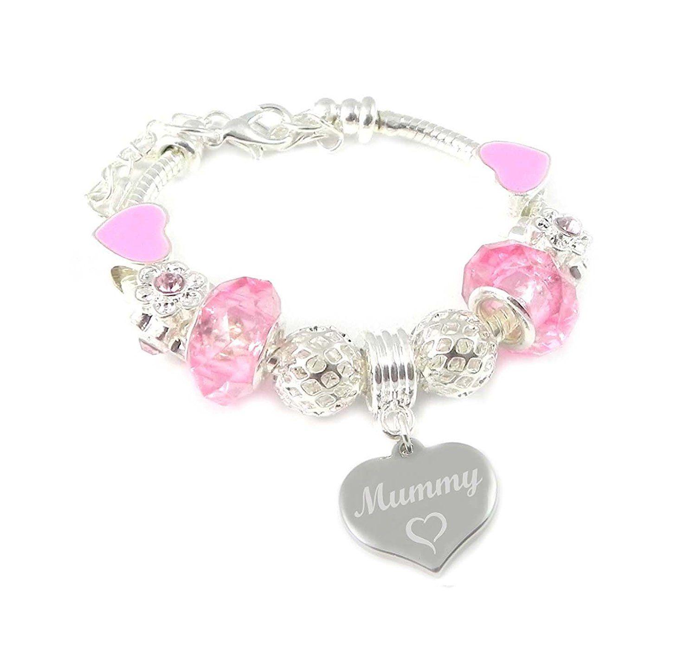 SanaBelle™ Flower Girl Personalised Engraved Heart Charm Link Bracelet Wedding