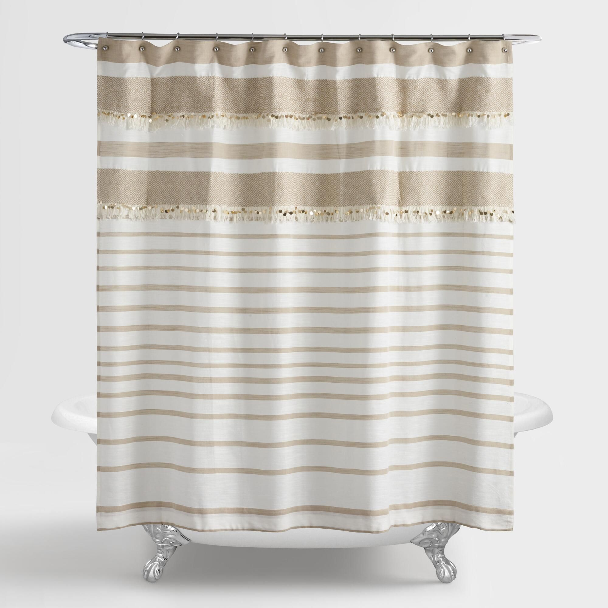 Tan And White Wedding Blanket Shower Curtain Brown White Cotton
