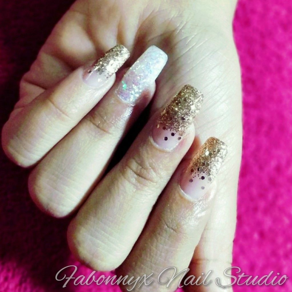 Shimmer Nail Art over gel extensions. Nail Mylars copper gold and ...