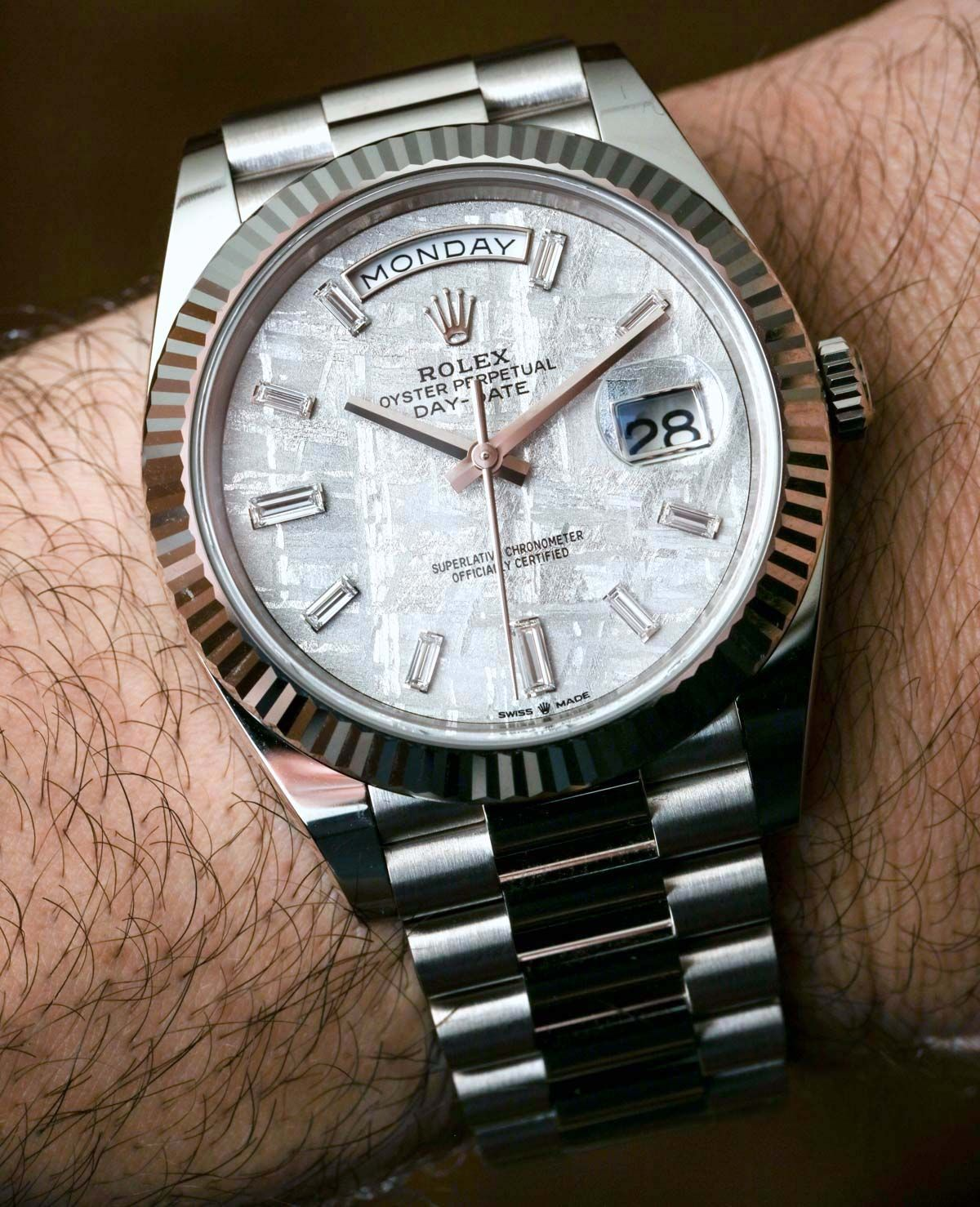 Rolex Day Date 40 White Gold Meteorite Dial 228239 Watch Time And