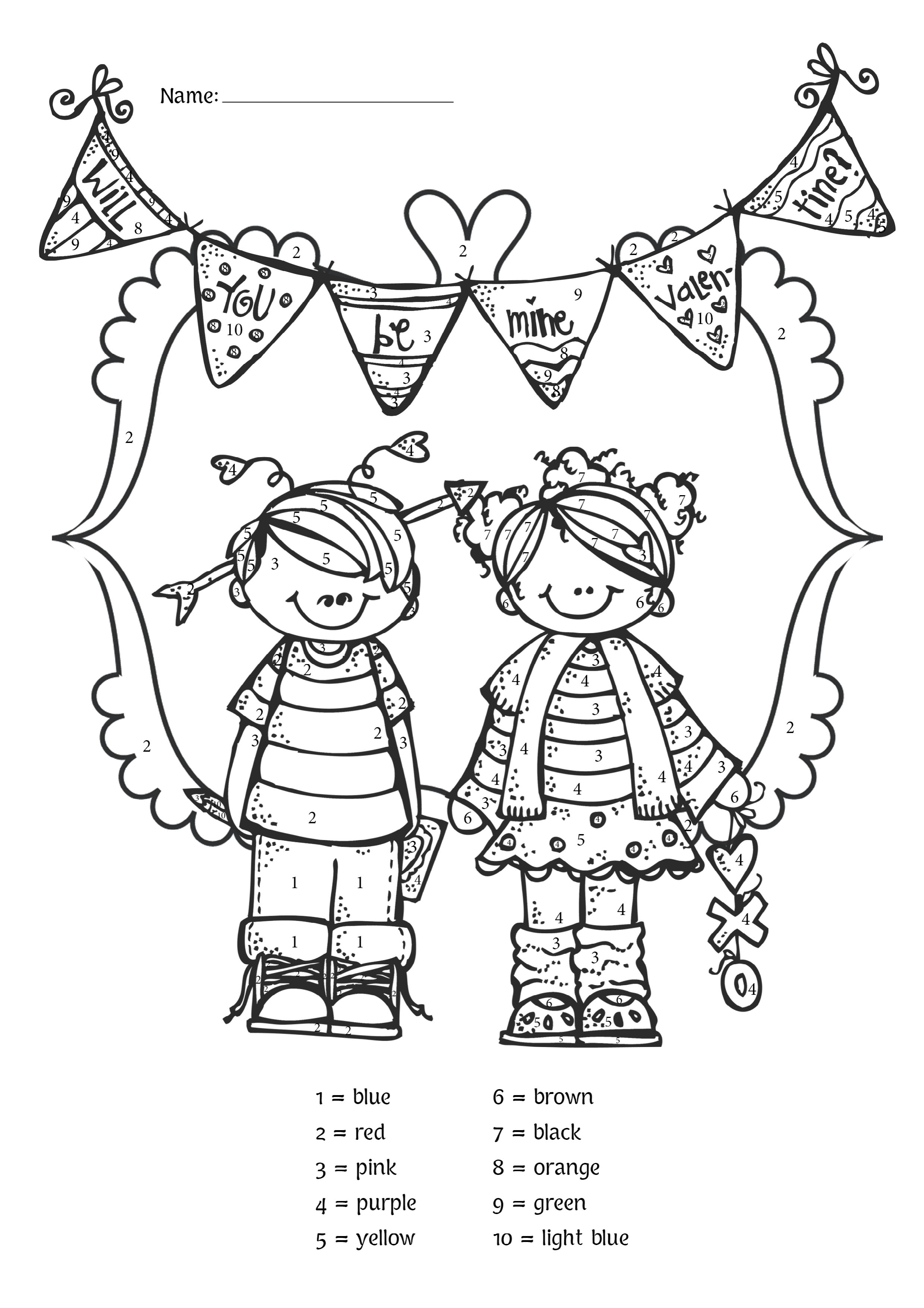 free valentine u0027s day color by number for pre k and kindergarten