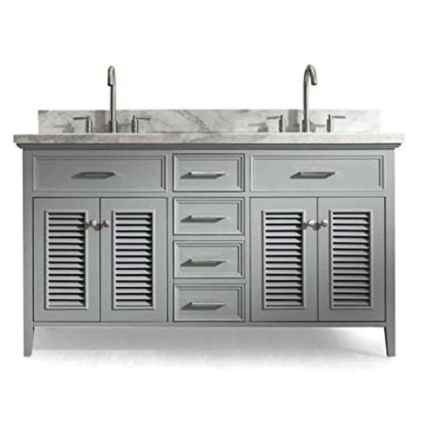 Photo of Ariel Kensington 61 Grey Traditional Double Sink Bathroom Vanity D061D-GRY – With Mirror