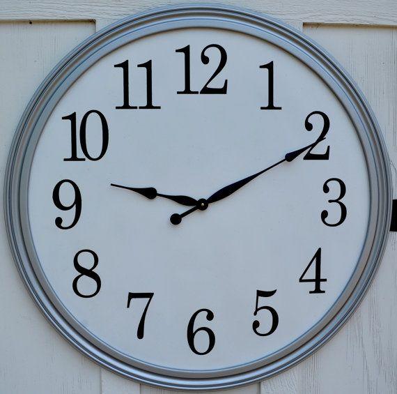 """Silver Framed Wall Clock 34"""""""