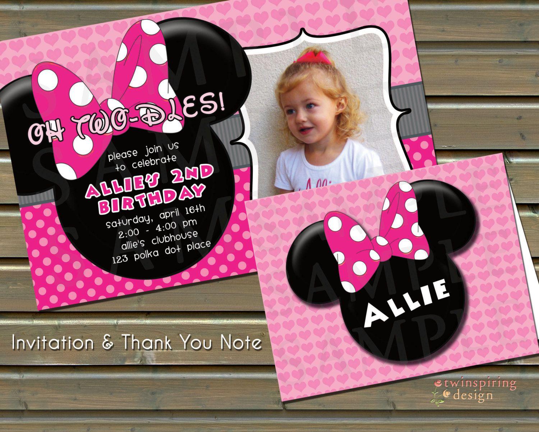 Minnie photo pink polka dot heart birthday invitations and thank minnie photo pink polka dot heart birthday invitations and thank you notes by twinspiringdesign on stopboris Image collections