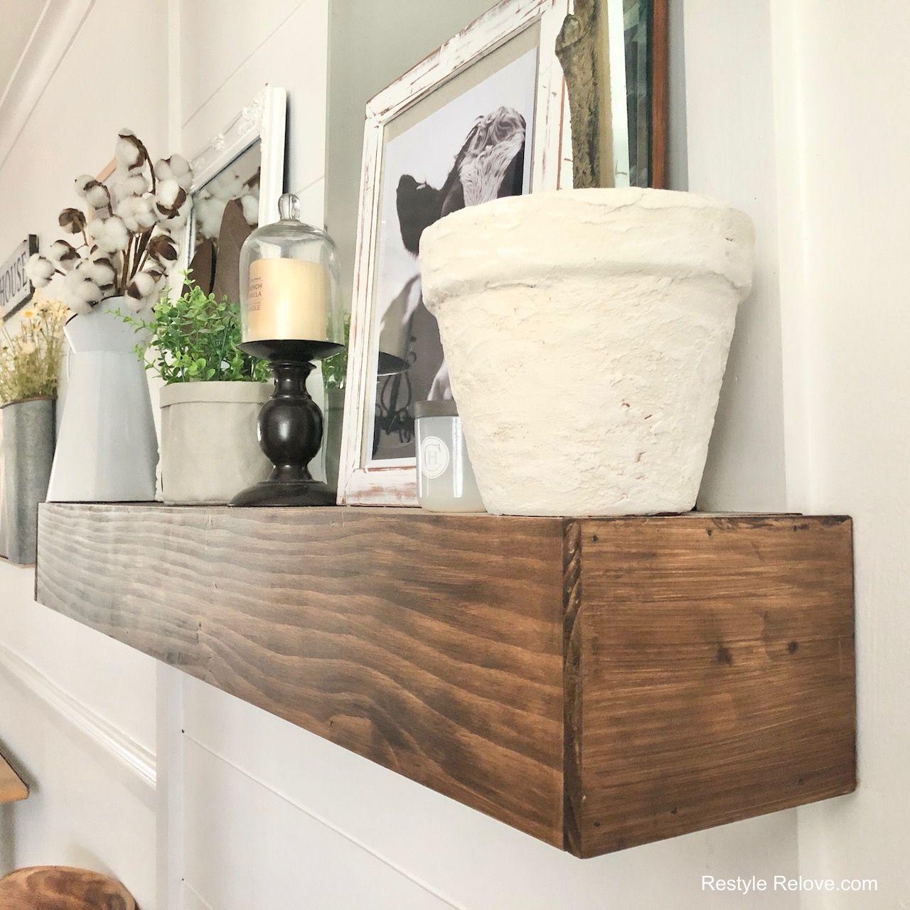 Diy rustic mantle shelf in 2020 mantle shelf rustic
