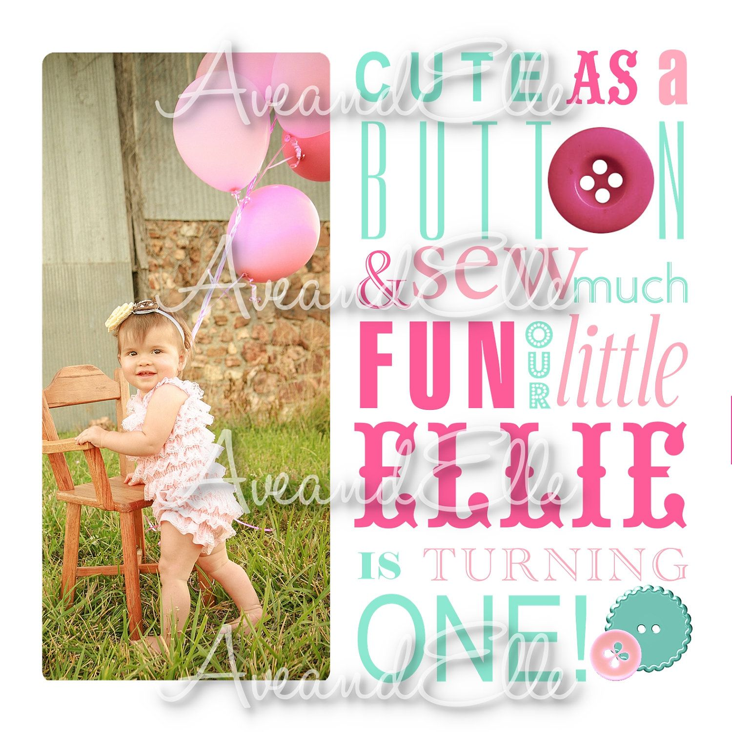 Cute As A Button Custom Printable First / 1st Birthday Party ...