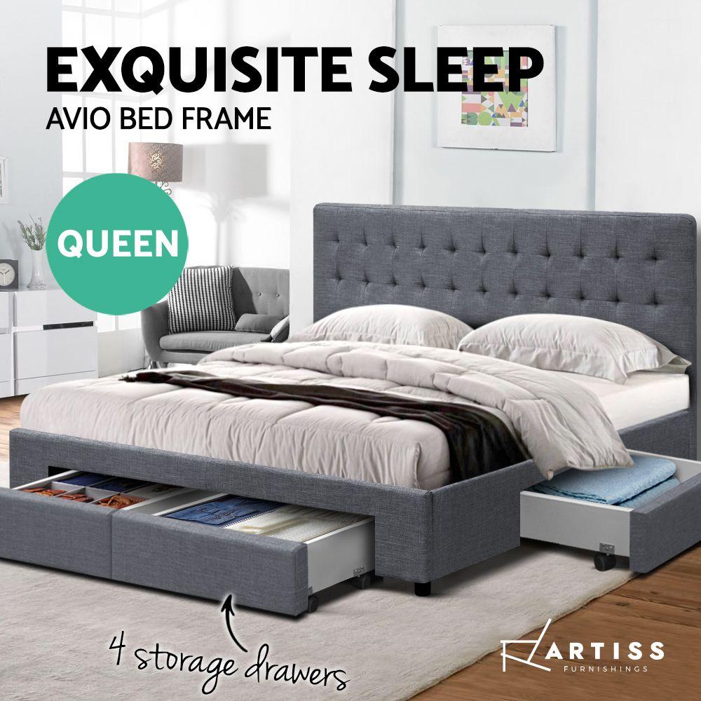 Parsons Grey Storage Bed Frame Online Only Matt Blatt In 2020