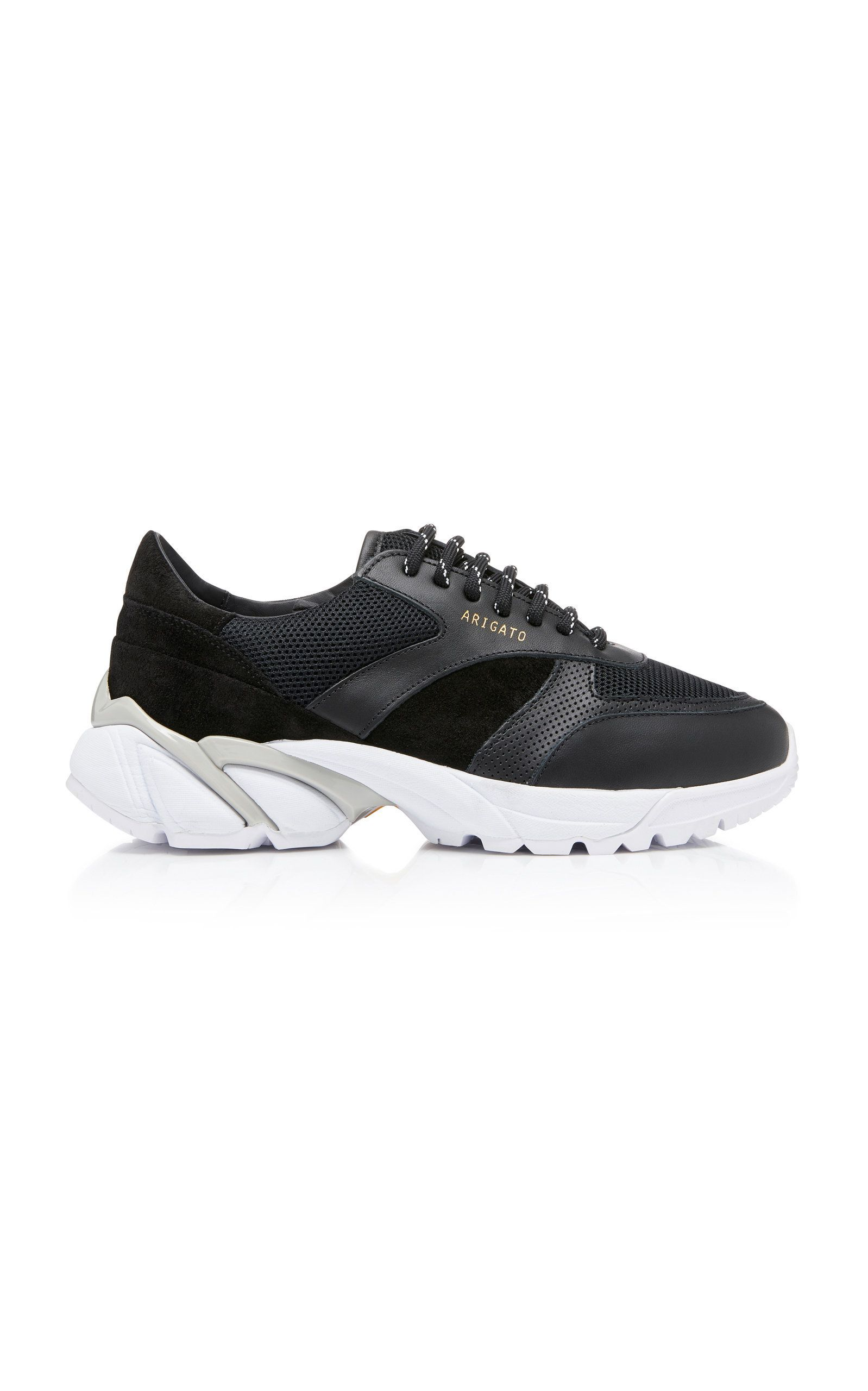 84d9a346a56 Tech Runner Core Leather-Trimmed Mesh Sneakers