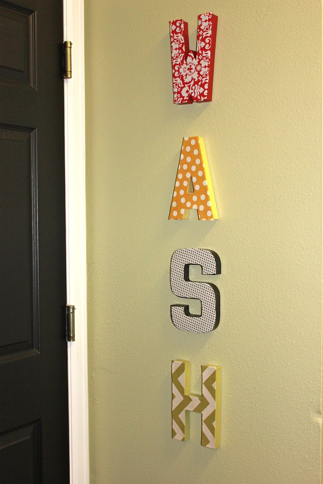 Cardboard letters, fabric, and spray paint for fun DIY laundry room ...