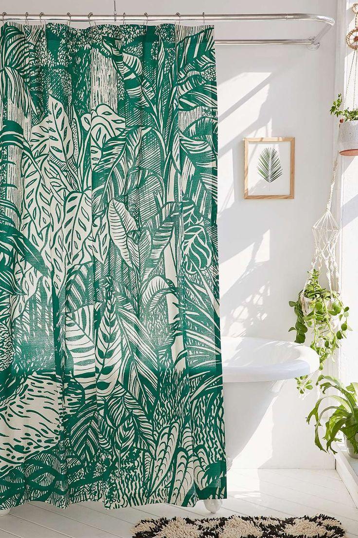Shower curtain tracks prices - Saskia Pomeroy Plants Shower Curtain All White Bathroom With Botanical Shower Curtain And Plants