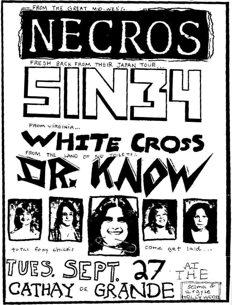 Necros, Dr. Know, Sin 34 & White Cross at Cathay de Grande. Sept. 27th 1983