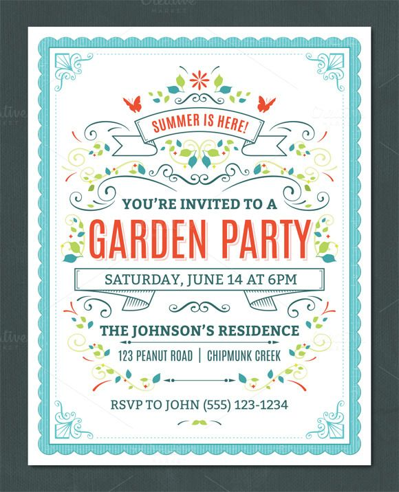 Summer Party Invitation Template by Swedish Points on Creative - farewell party invitation template