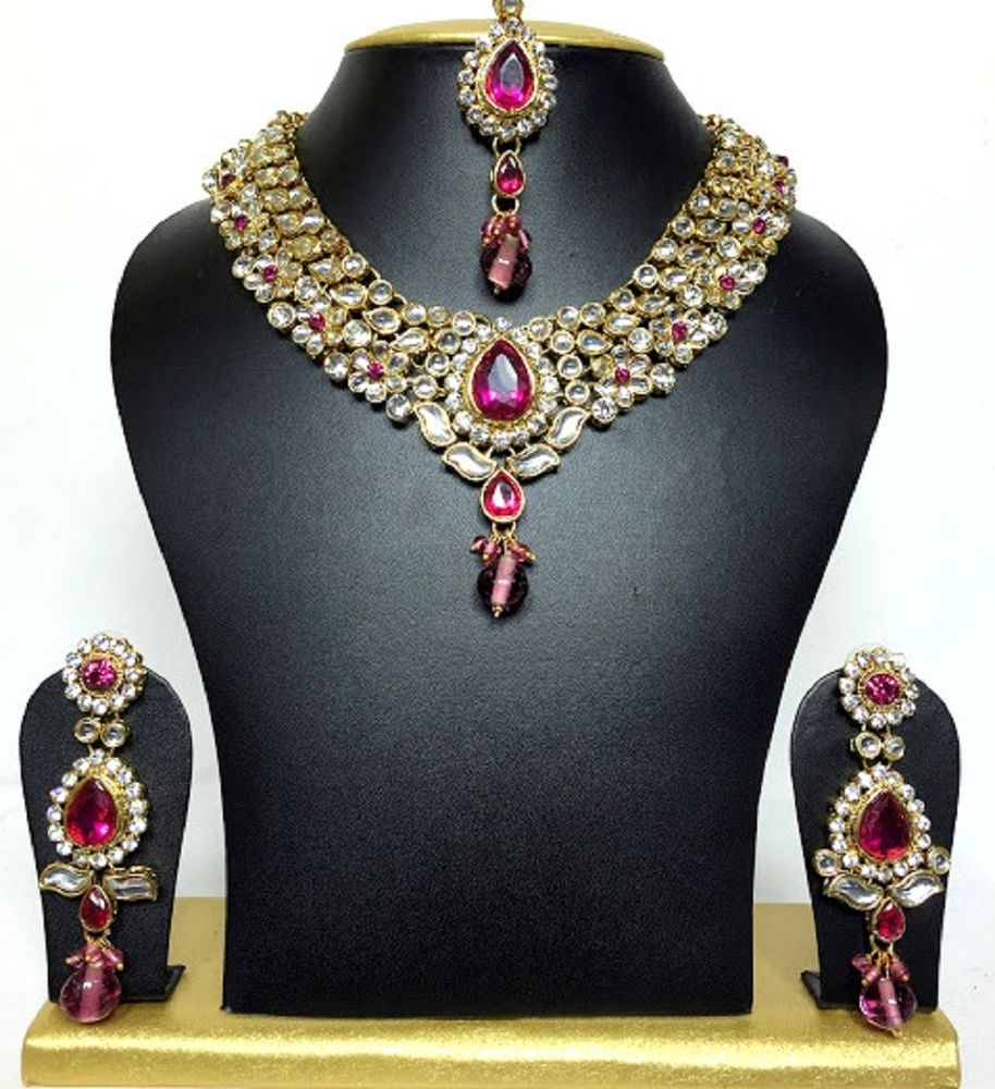 Choker gold plated hot pink stones diwali party special necklace set