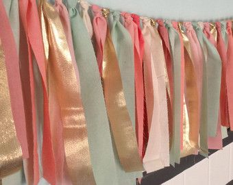 Multicolored Springtime Hand Dyed Fabric Rag Garland In Mint Seafoam Green Coral Peach Pink Blush And Gold