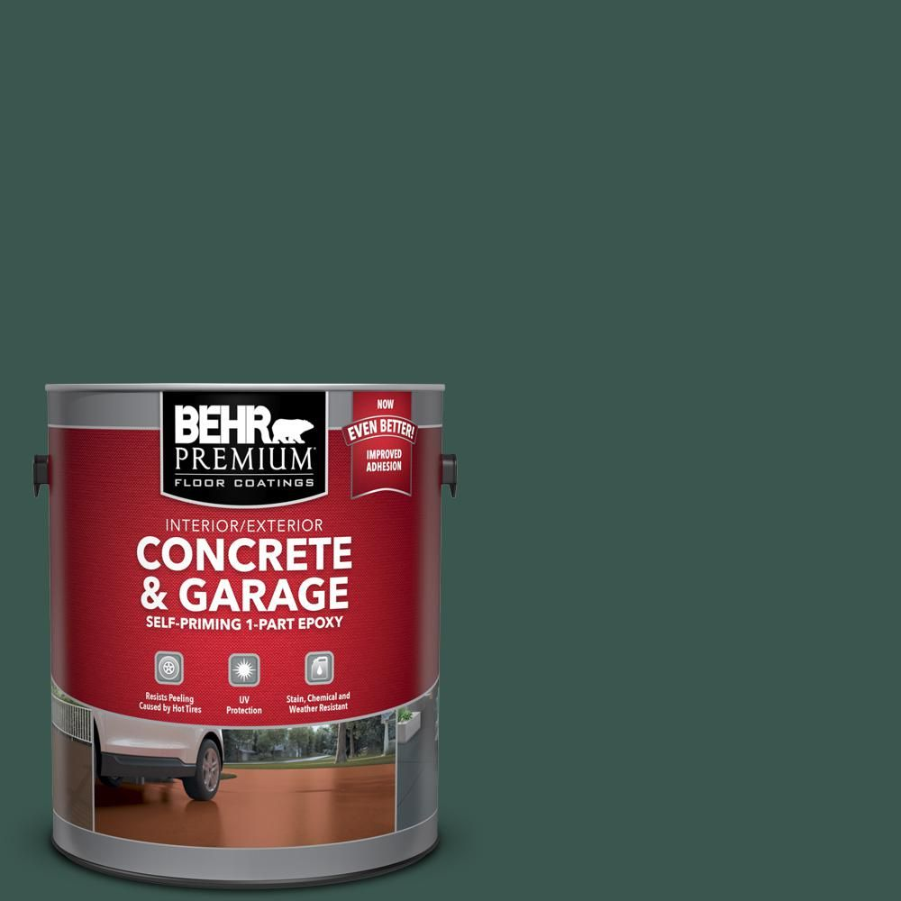Behr Premium 1 Gal Ppf 02 Patio Green Self Priming 1 Part Epoxy Satin Interior Exterior Concrete And Garage Floor Paint 93001 In 2020 Garage Floor Paint Painted Floors Stained Concrete