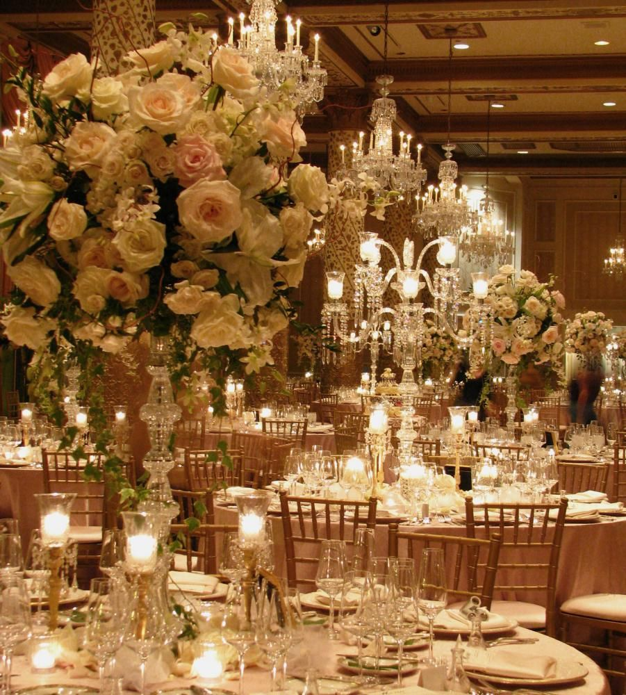 Gold Wedding Reception: Romantic Floral & Crystal Candlabras In Gold Coast Room Of