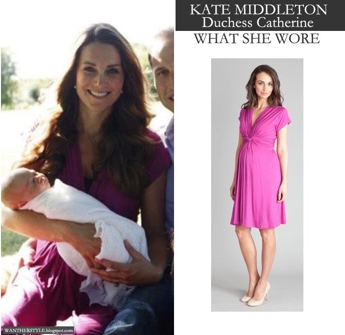 August 2013 - Kate Middleton Duchess of Cambridge in pink fuchsia knot dress
