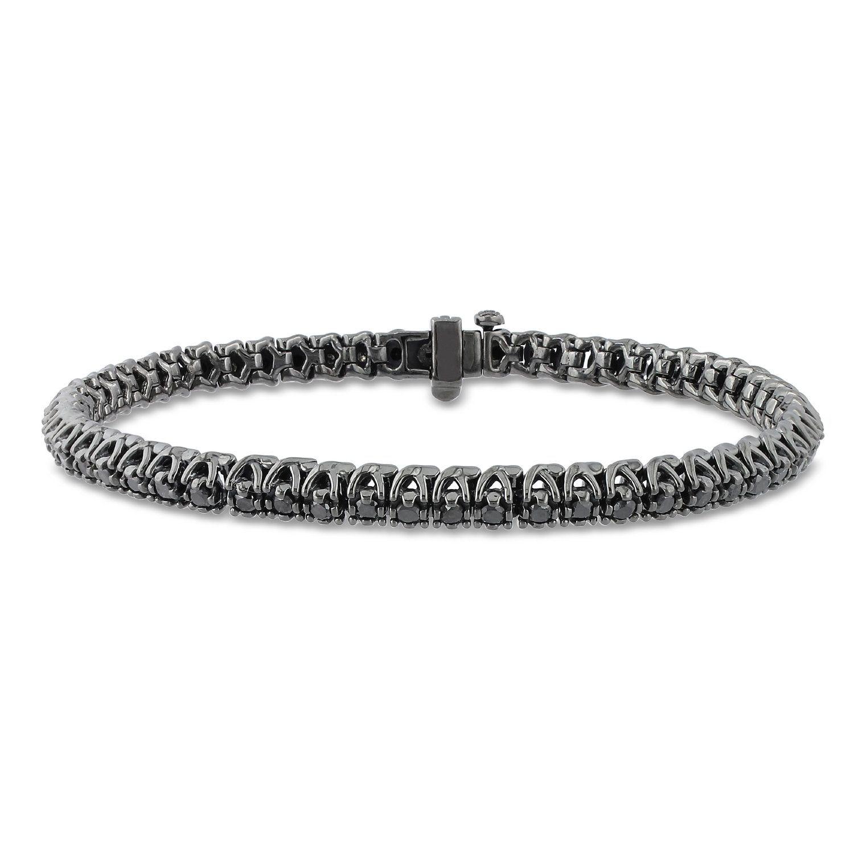 Black Diamond Tennis Bracelet In Black Rhodium On 14k White Gold Sale Black Diamond Bracelet Diamond Bracelet Bracelets For Men