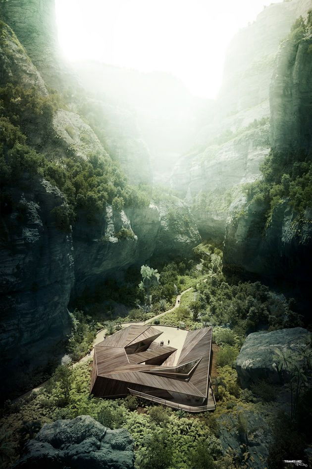 CGarchitect - Professional 3D Architectural Visualization User Community | Shelter hikers in a canyon