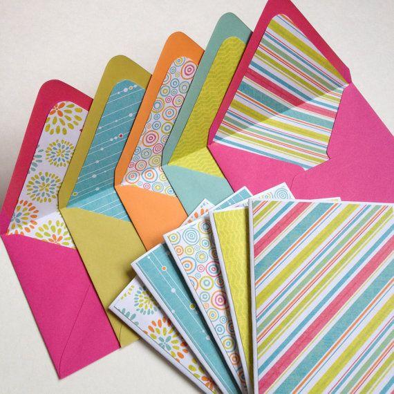 set of 5  handmade stationery set  blank note cards w