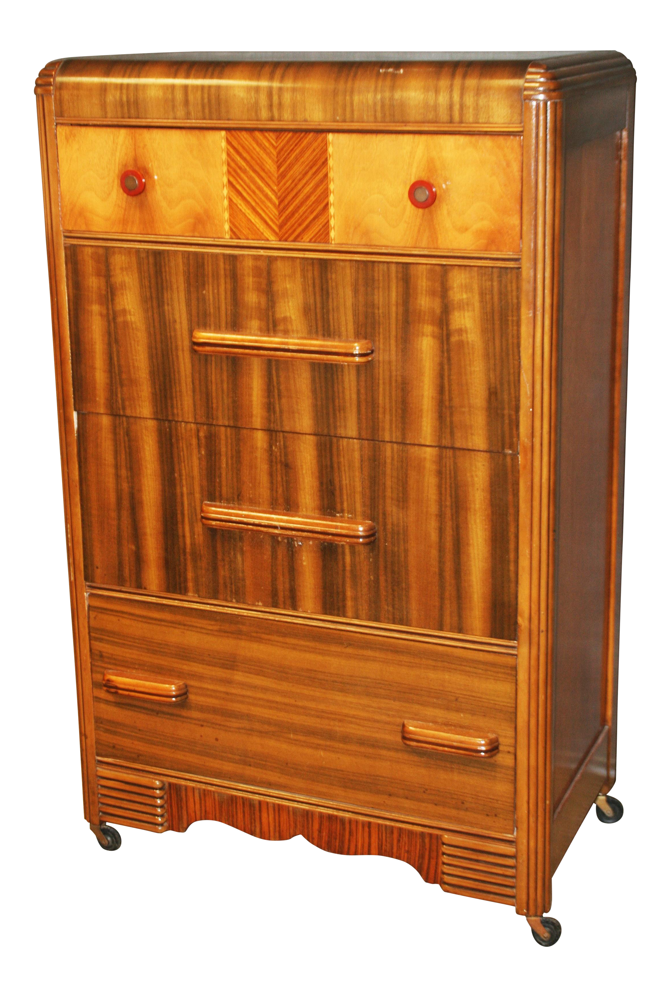 Art Deco Waterfall Dresser With Bakelite Drawer Pulls On Chairishcom