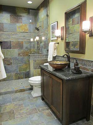 The Tile Shop copper rust slate live for tile bathrooms