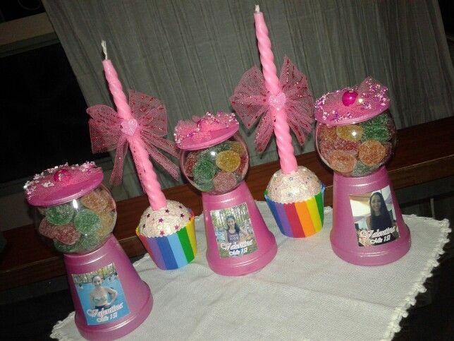 """Souvenirs porta caramelos y velas para quinceañera  """"fiesta de dulces"""""""